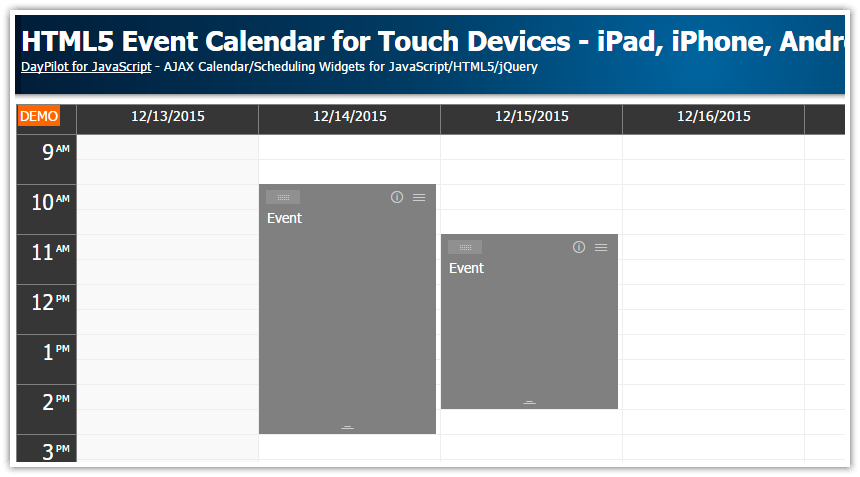 html5 event calendar javascript touch devices ipad iphone android