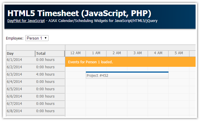 html5 timesheet javascript php daypilot code