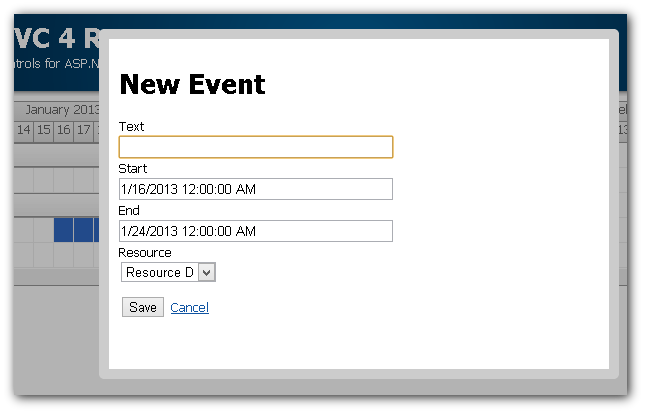 scheduler mvc new event modal popup
