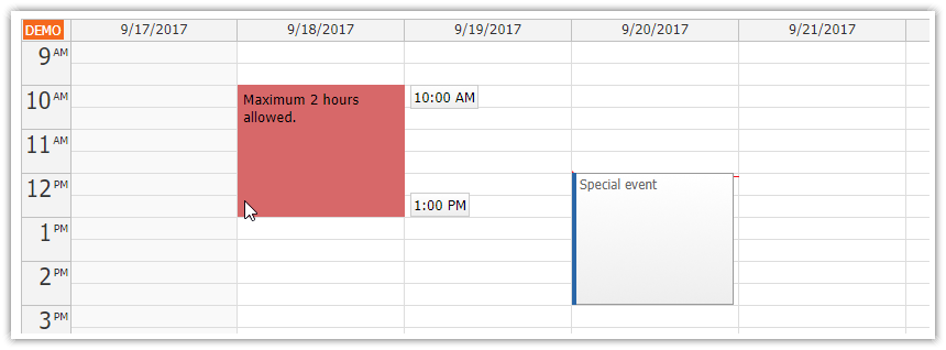 javascript event calendar time range selecting