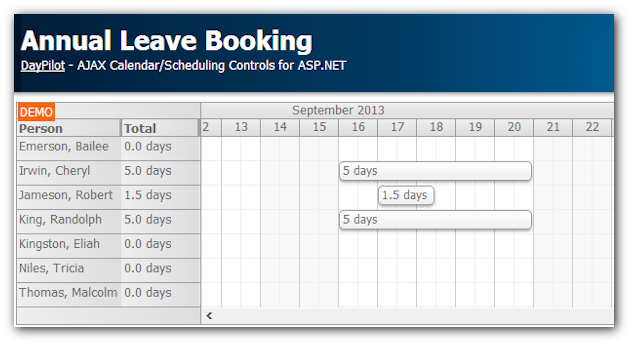 annual leave booking asp.net