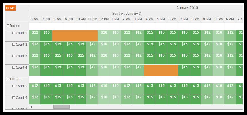 Tutorial: html5 hotel room booking (javascript/php)   daypilot.