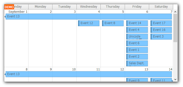 monthly event calendar asp.net mvc 100 height