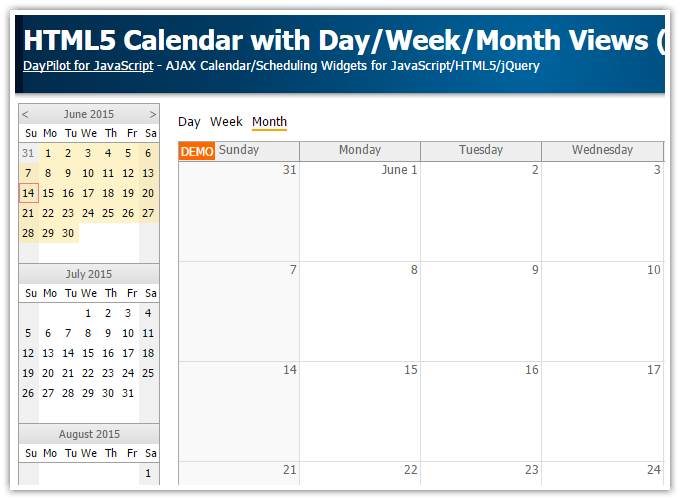 Weekly Calendar Using Javascript : Tutorial html event calendar with day week month views