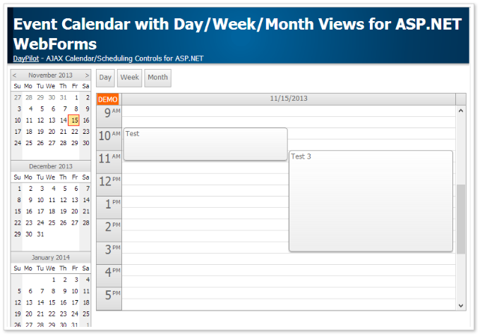 event calendar asp.net day week month