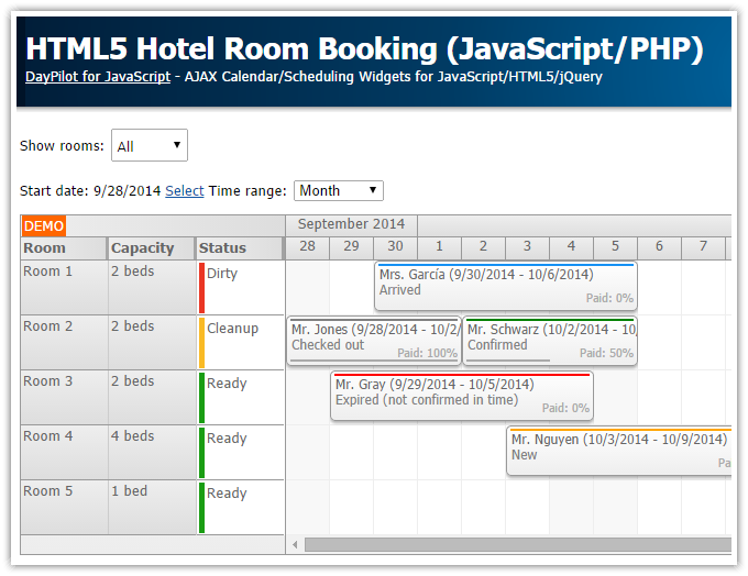 html5 hotel room booking javascript php