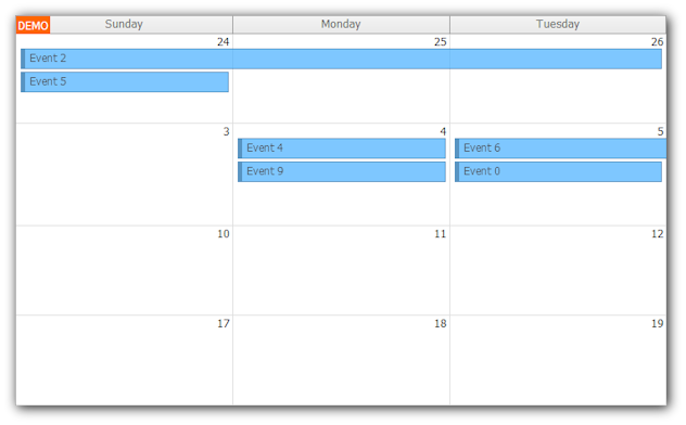 monthly event calendar javascript