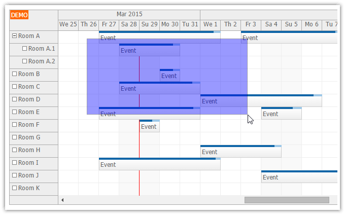 html5 scheduler event multi selecting