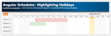 Tutorial: Angular Scheduler - Highlighting Holidays