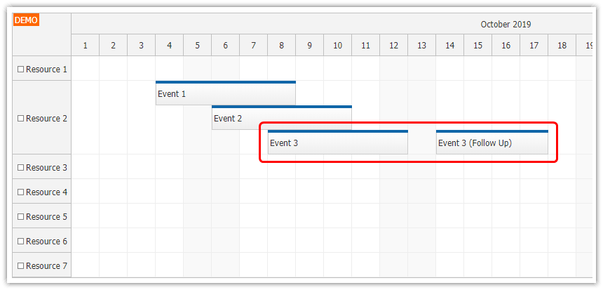 javascript scheduler event placement containers