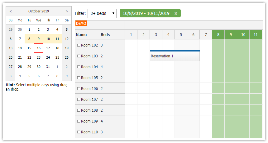 javascript html5 scheduler room filtering availability tutorial