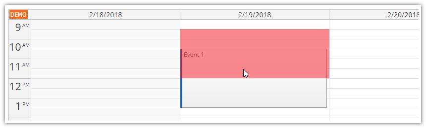 javascript calendar appointment overlap protection