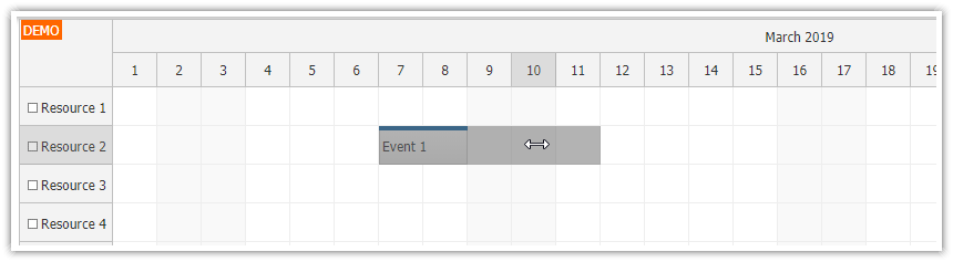 javascript scheduler skip non business event resizing