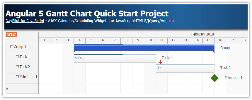 angular 5 gantt chart quick start project