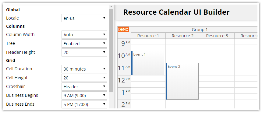 javascript resource calendar configurator