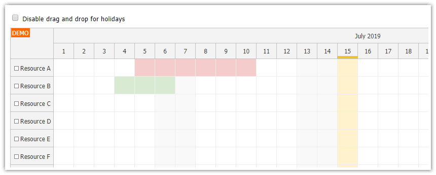 javascript scheduler displaying holidays