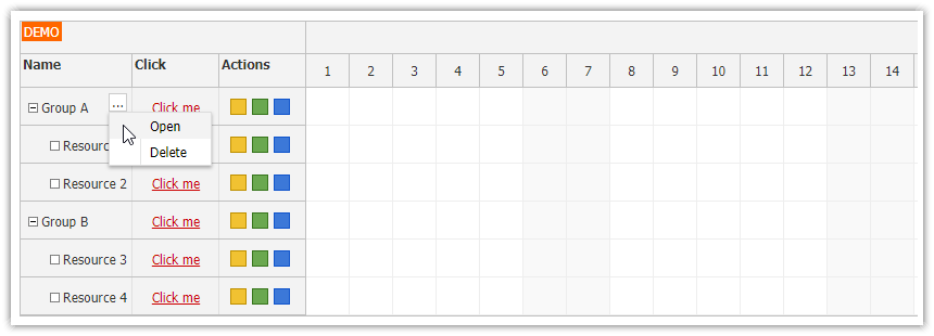Angular Scheduler: Row Header Actions   DayPilot Code