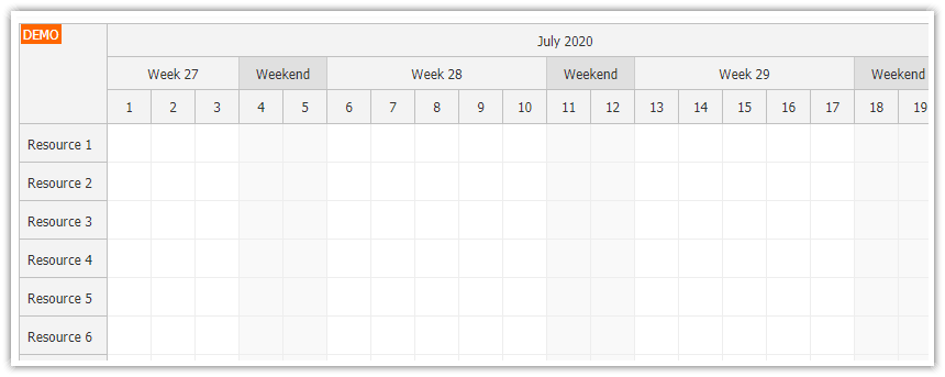 javascript scheduler time header segments
