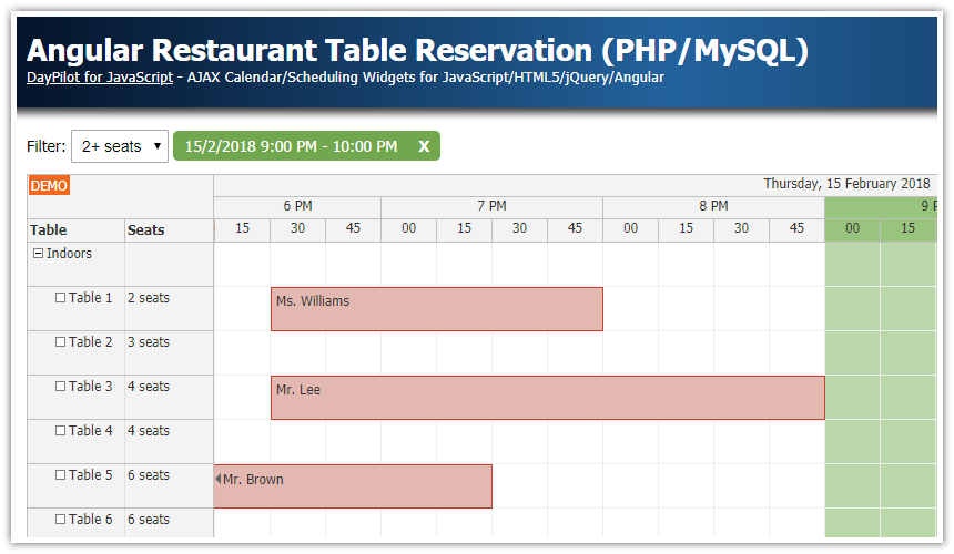 Angular 8 Restaurant Table Reservation (PHP/MySQL