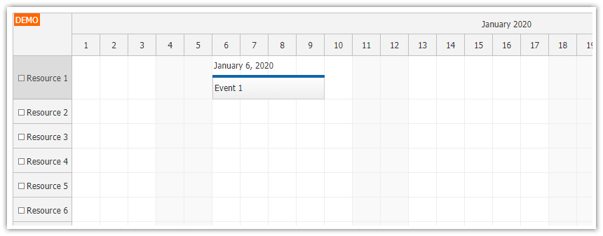javascript scheduler display text above events