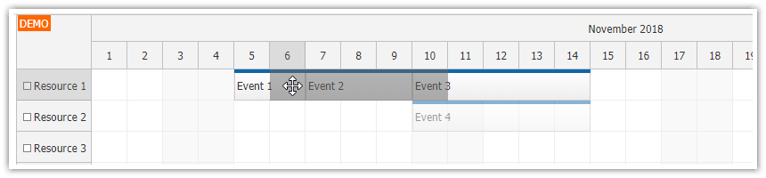 javascript scheduler push existing events forward before