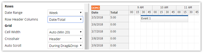 javascript timesheet configurator daily total